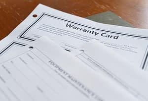 warranty card for a heavy duty vehicle purchase