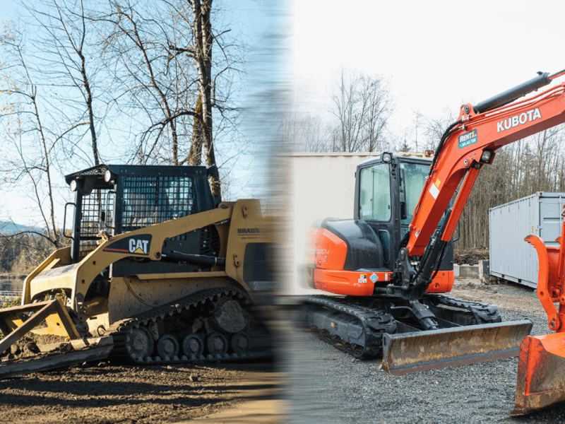 Split screen comparison of an old skit steer and a new mini excavator